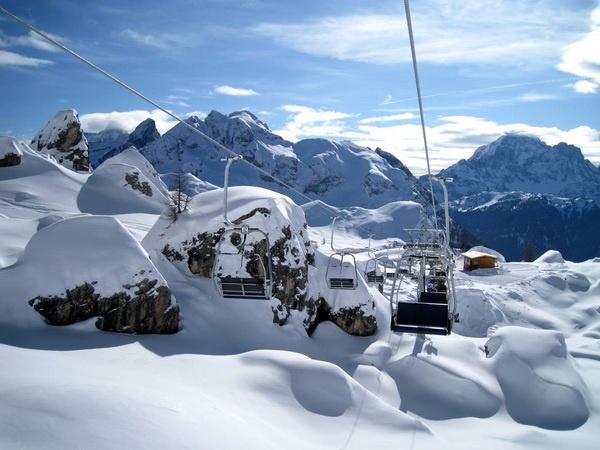 Den smukke udsigt over skiområdet i Tignes