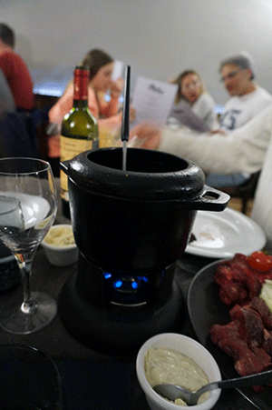 Fondue kød rødvin